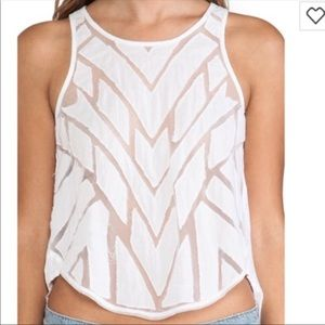 Free People Ginger Geometric Cut Out Tank